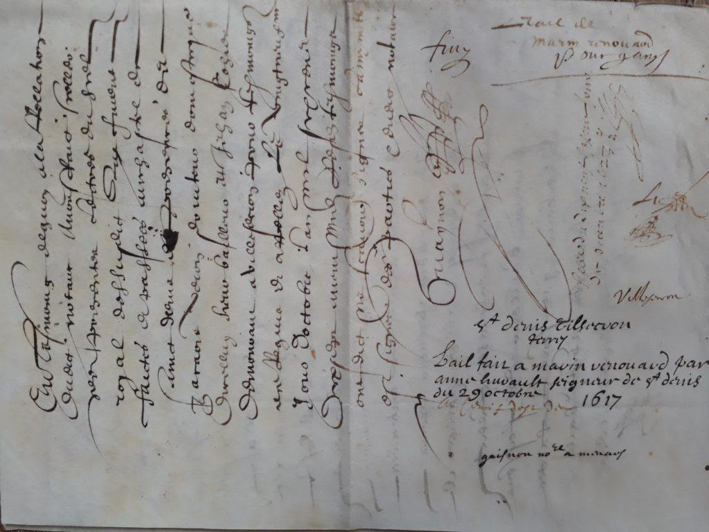 Lettre signée par Anne Hurault de Saint-Denis en 1617